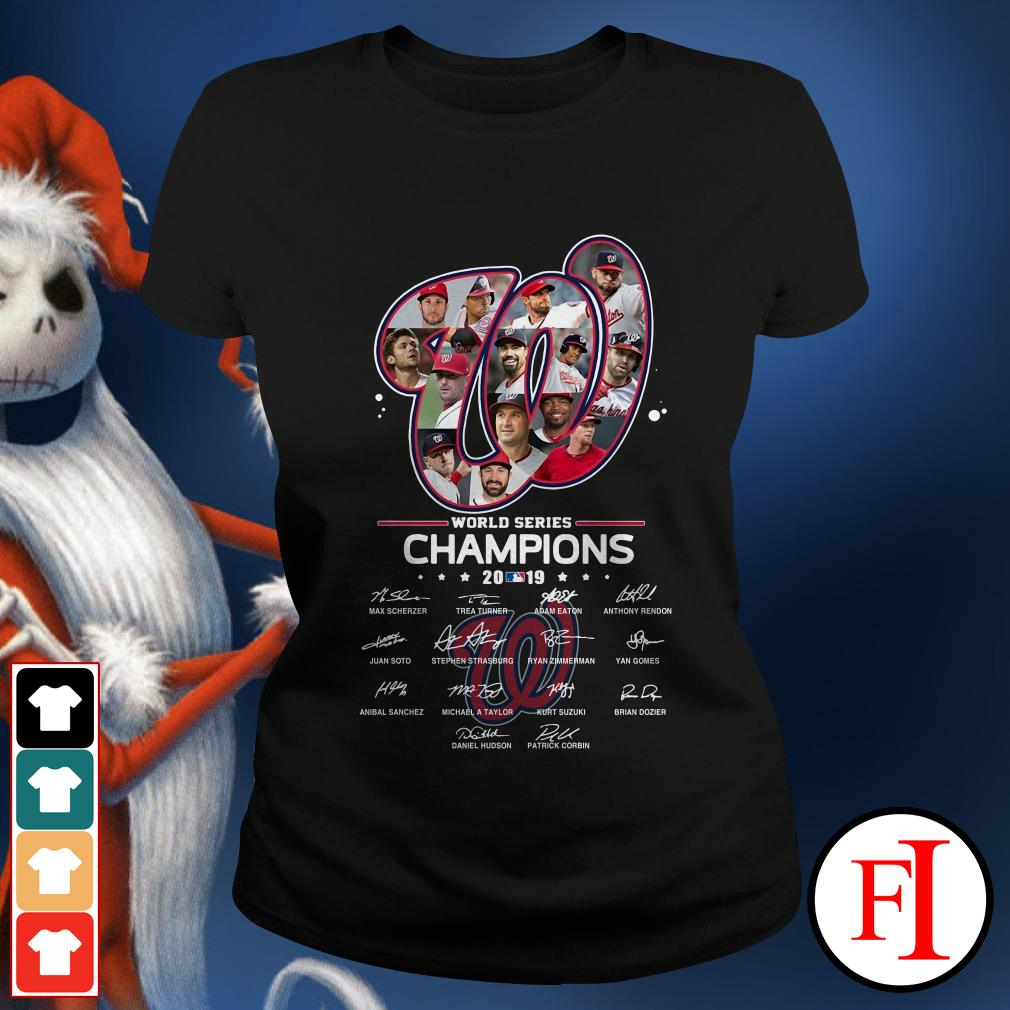 Washington Nationals World Series Champions 2019 signatures Ladies Tee