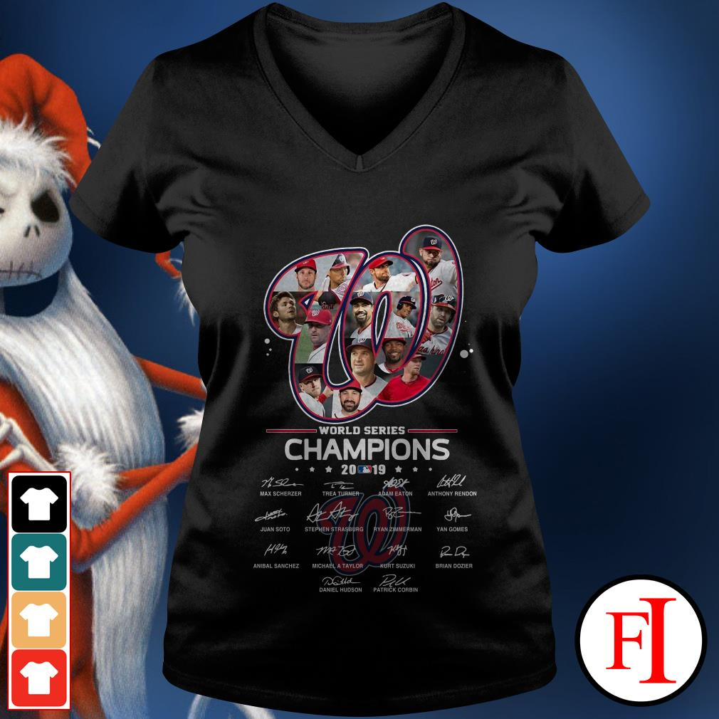 Washington Nationals World Series Champions 2019 signatures V-neck t-shirt