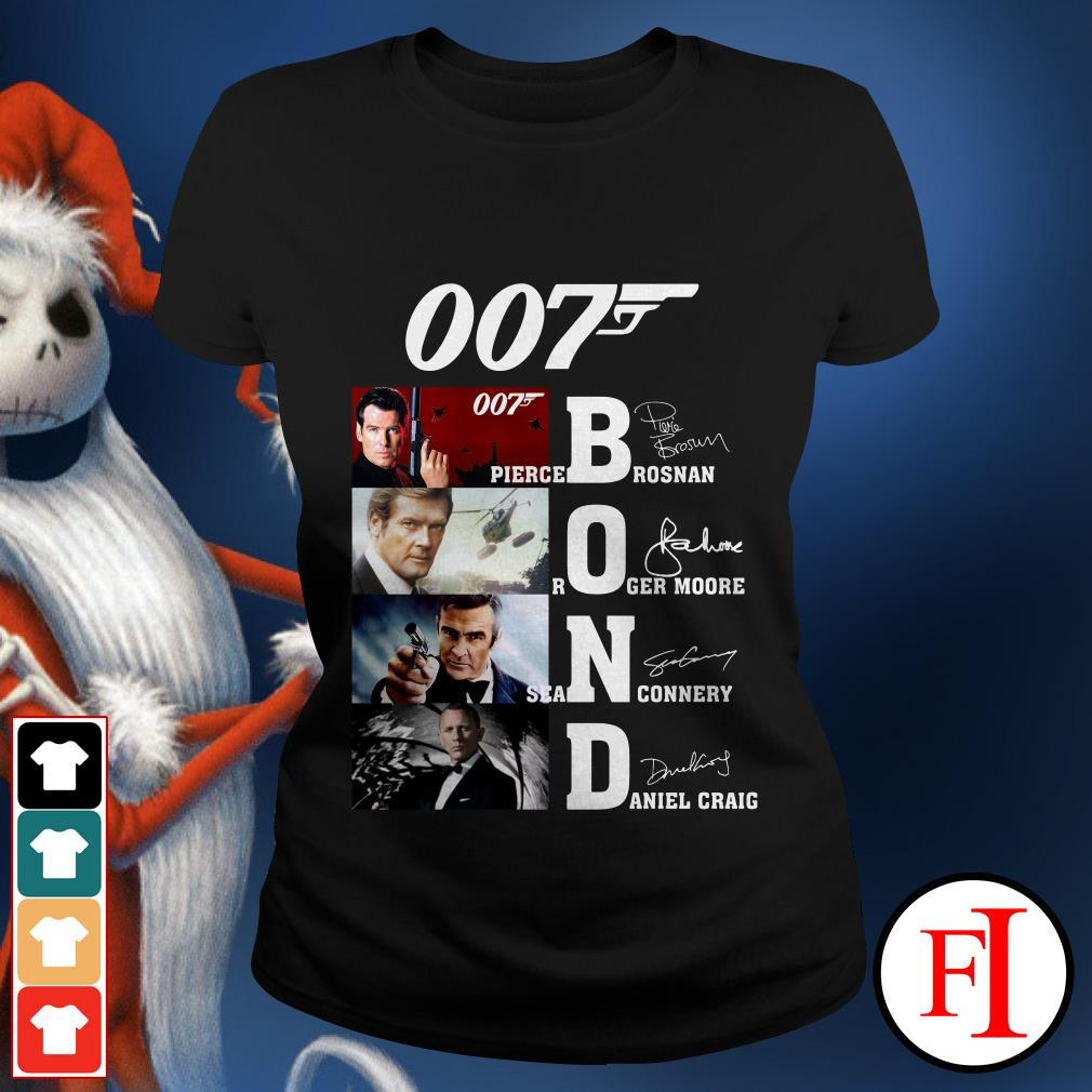 007 Bond Pierce Brosnan Roger Moore Sean Connery Daniel Craig Ladies tee