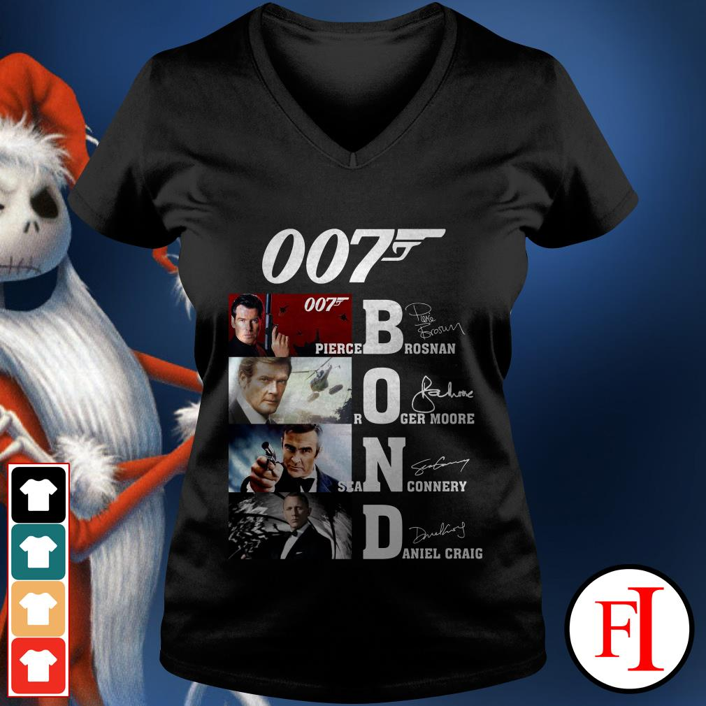 007 Bond Pierce Brosnan Roger Moore Sean Connery Daniel Craig V-neck t-shirt