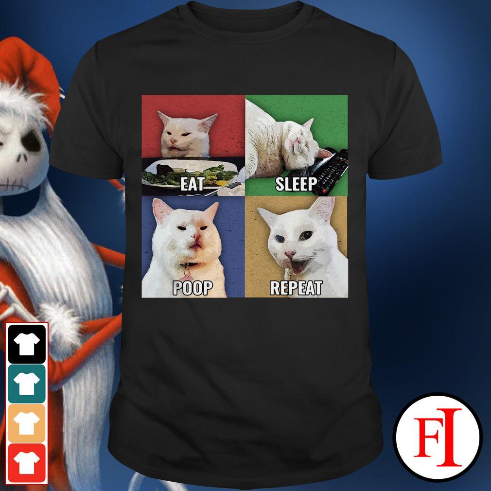 The Cat meme eat sleep poop repeat shirt