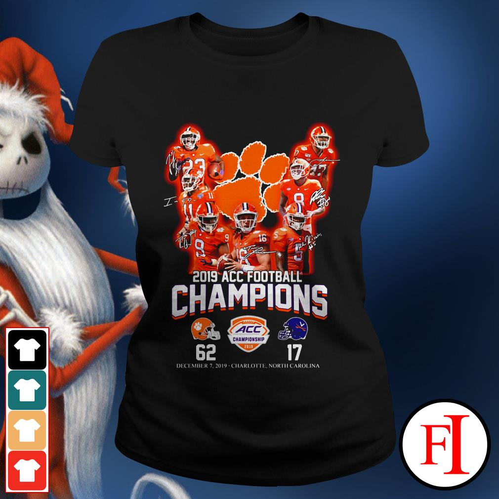 Champions Clemson Tigers 2019 ACC football signatures Ladies tee