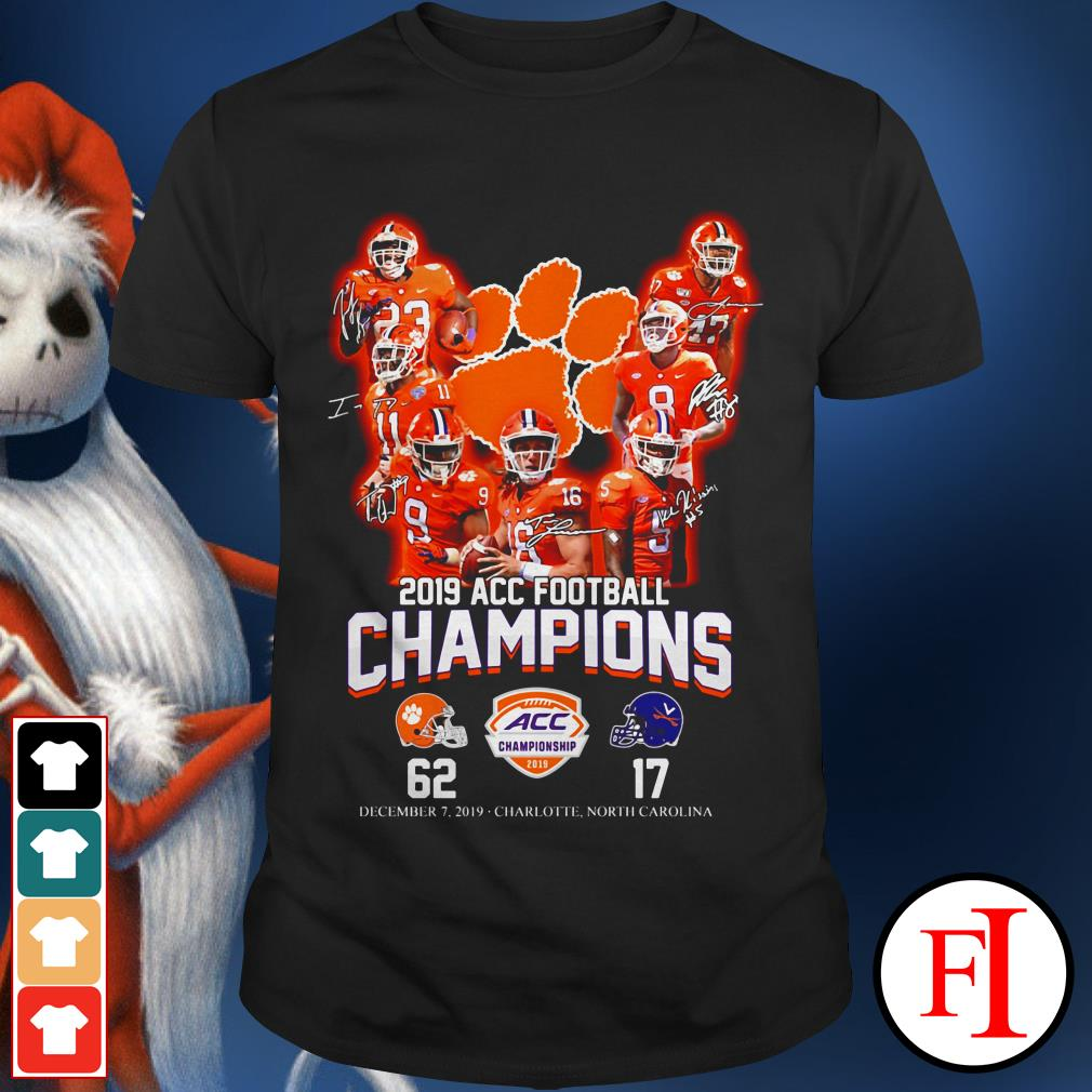 Champions Clemson Tigers 2019 ACC football signatures shirt