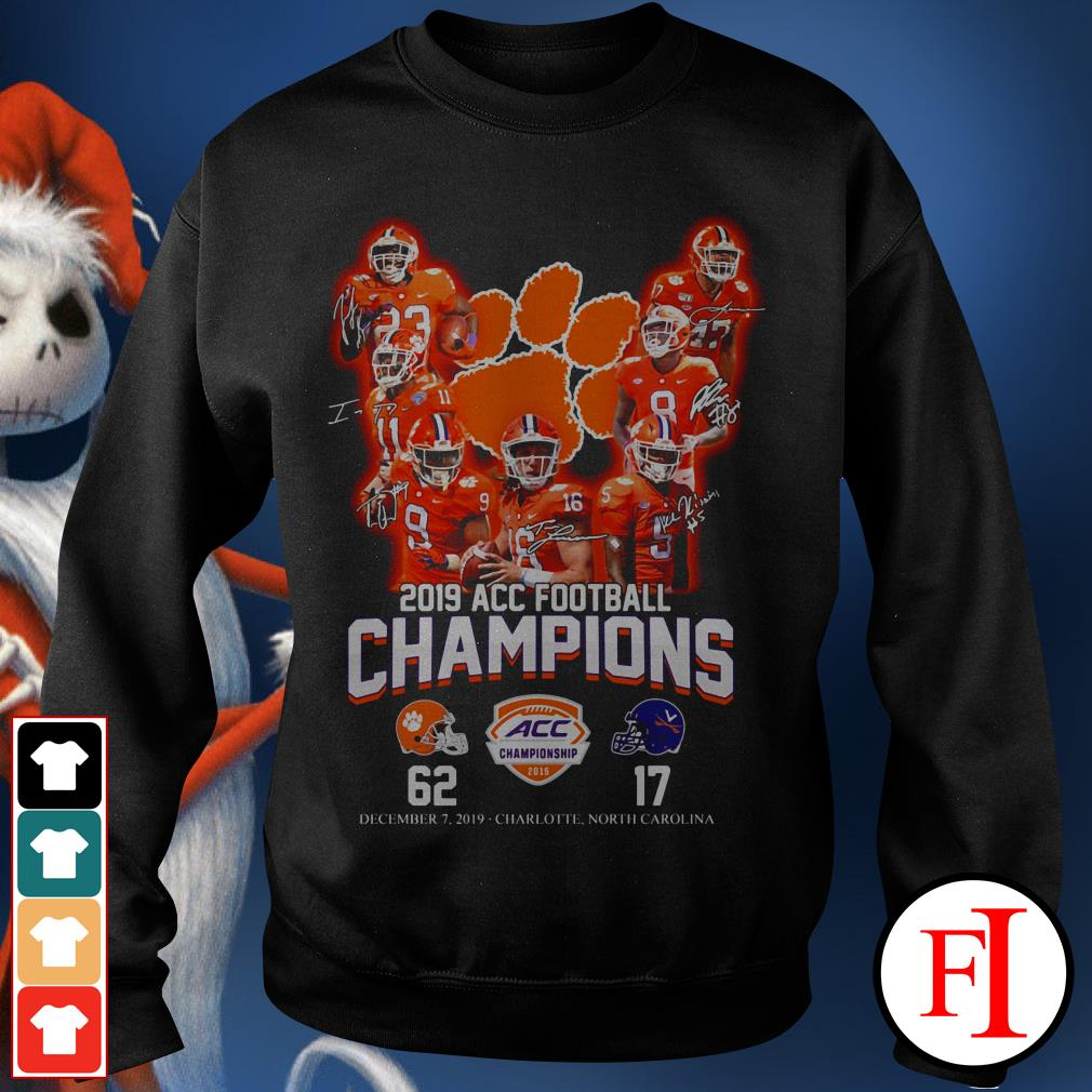 Champions Clemson Tigers 2019 ACC football signatures Sweater