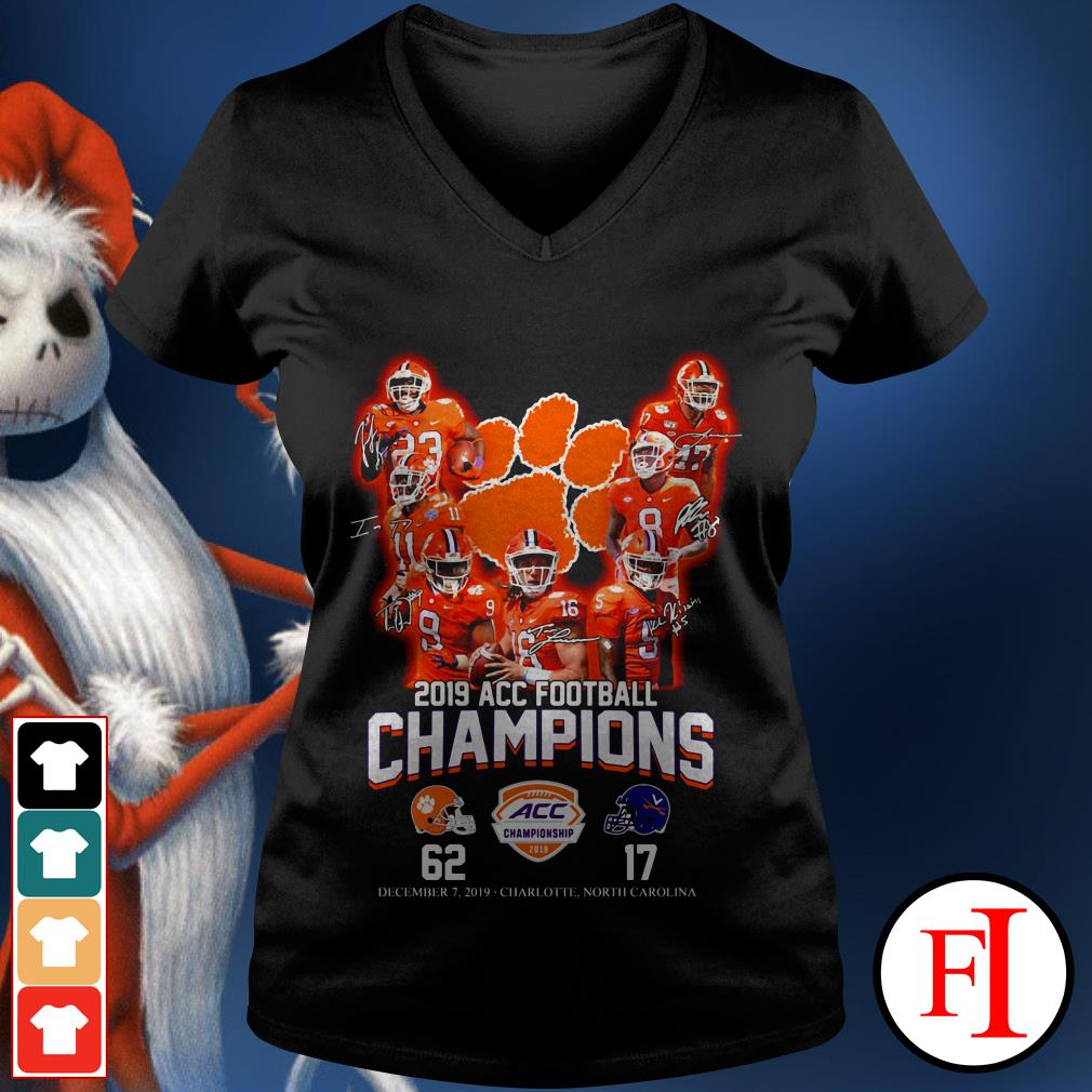 Champions Clemson Tigers 2019 ACC football signatures V-neck t-shirt