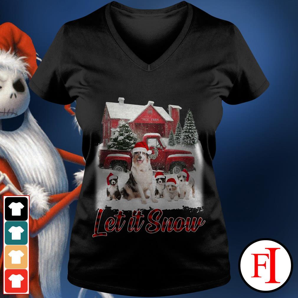 Christmas Australian Shepherd Let It Snow V-neck t-shirt