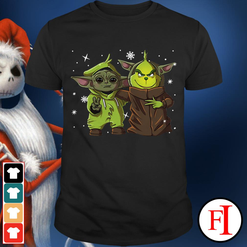 Christmas Baby Yoda and baby Grinch friend shirt