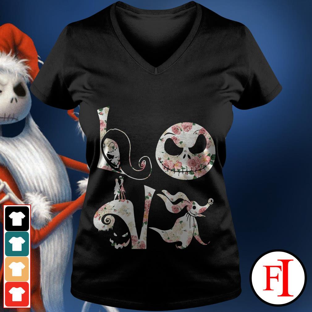 Before Christmas Nightmare Jack Skellington flower love V-neck t-shirt