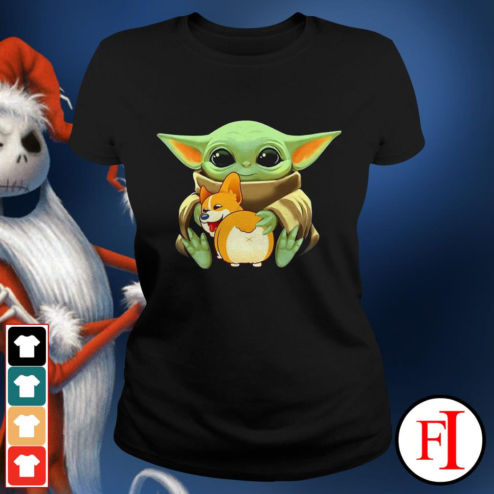Corgi dog Baby Yoda hug Ladies tee