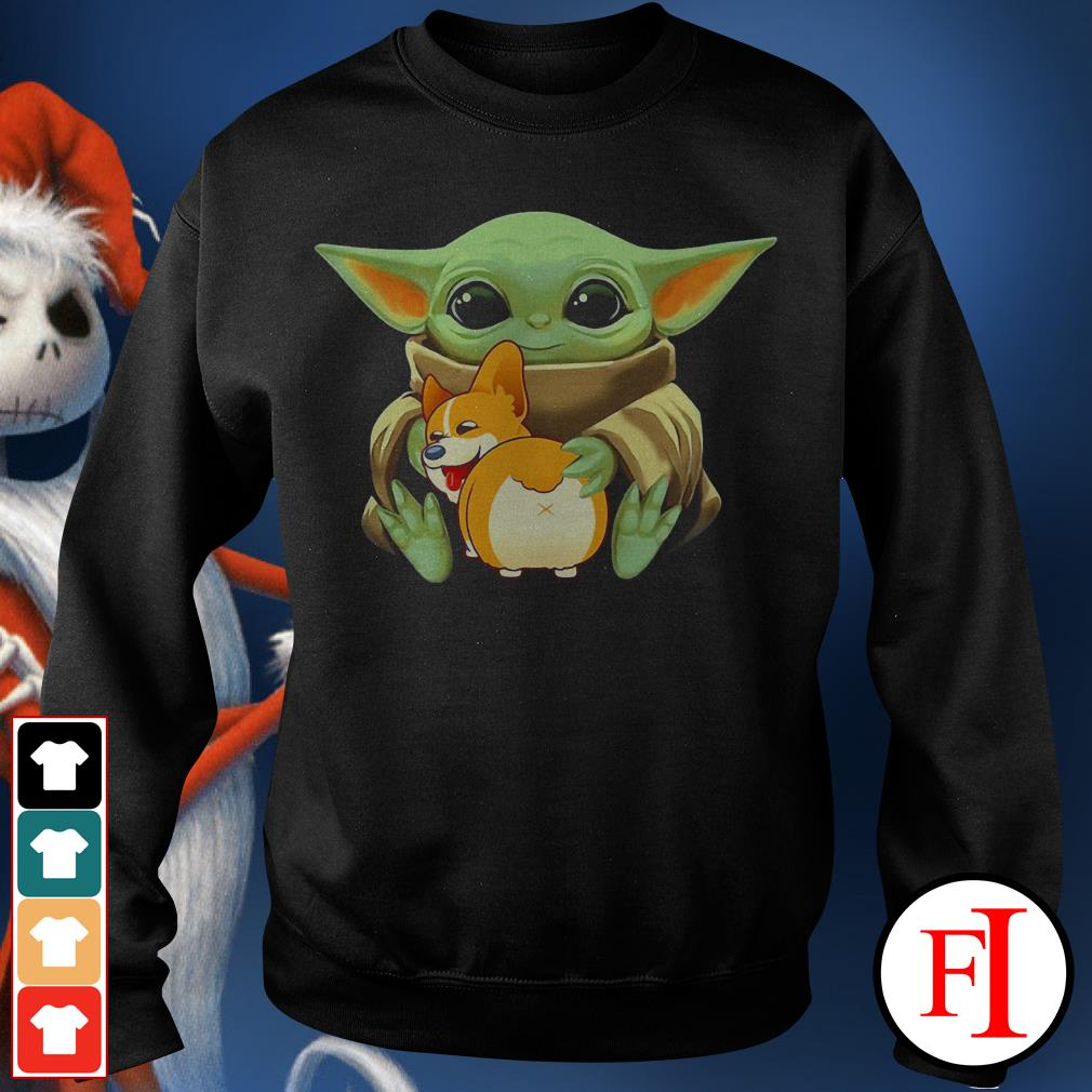 Corgi dog Baby Yoda hug Sweater