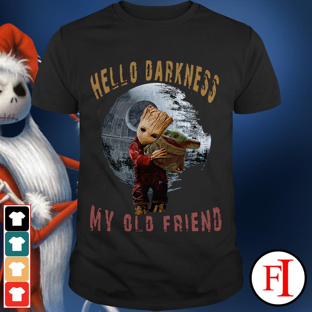 Hello darkness my old friend Baby Groot hugging Baby Yoda shirt