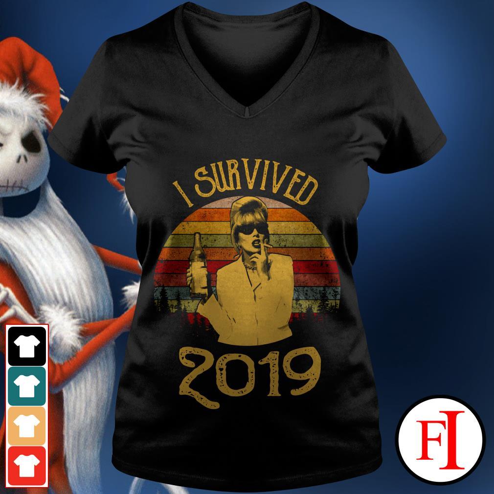 Jennifer Saunders I survived 2019 sunset V-neck t-shirt