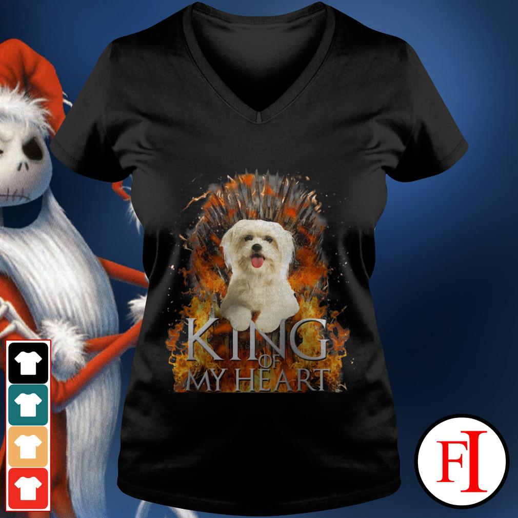 King of my heart Maltese V-neck t-shirt