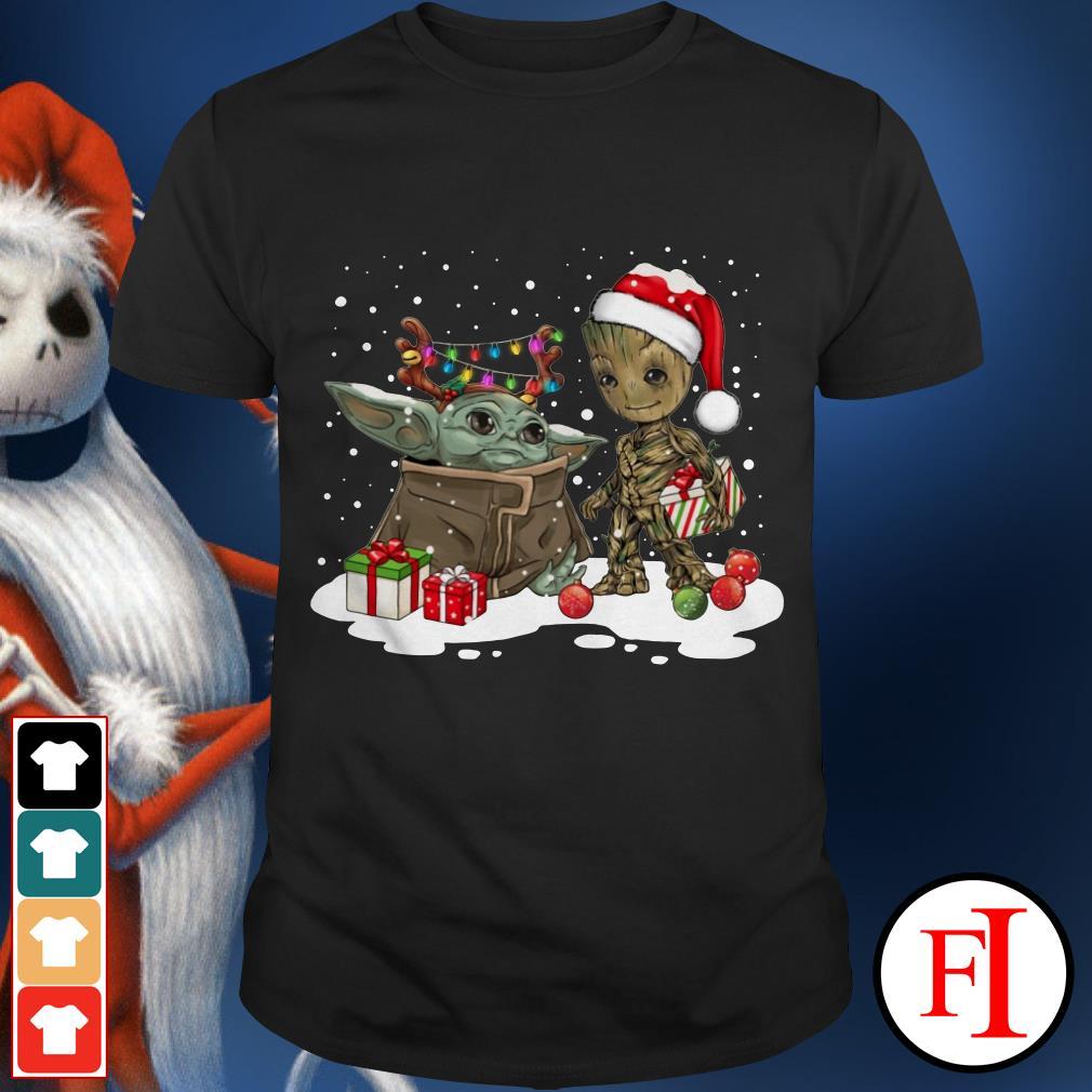 Merry Christmas Baby Yoda and Groot Santa shirt
