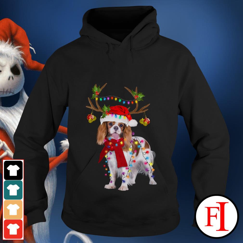 Merry Christmas Cavalier King gorgeous reindeer Hoodie