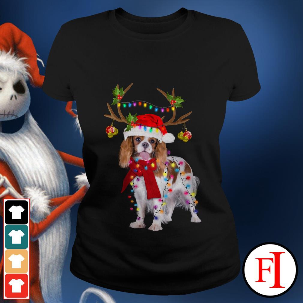 Merry Christmas Cavalier King gorgeous reindeer Ladies tee