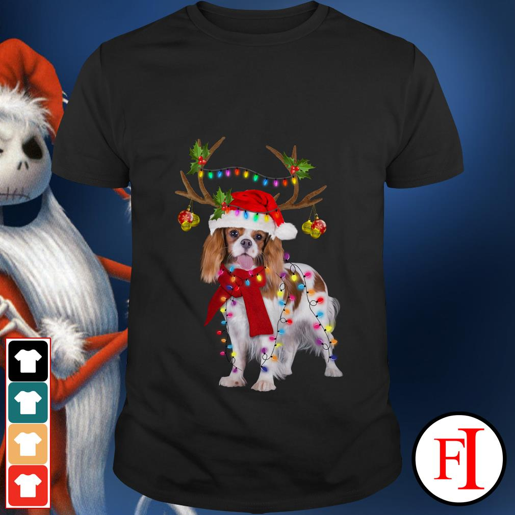 Merry Christmas Cavalier King gorgeous reindeer shirt