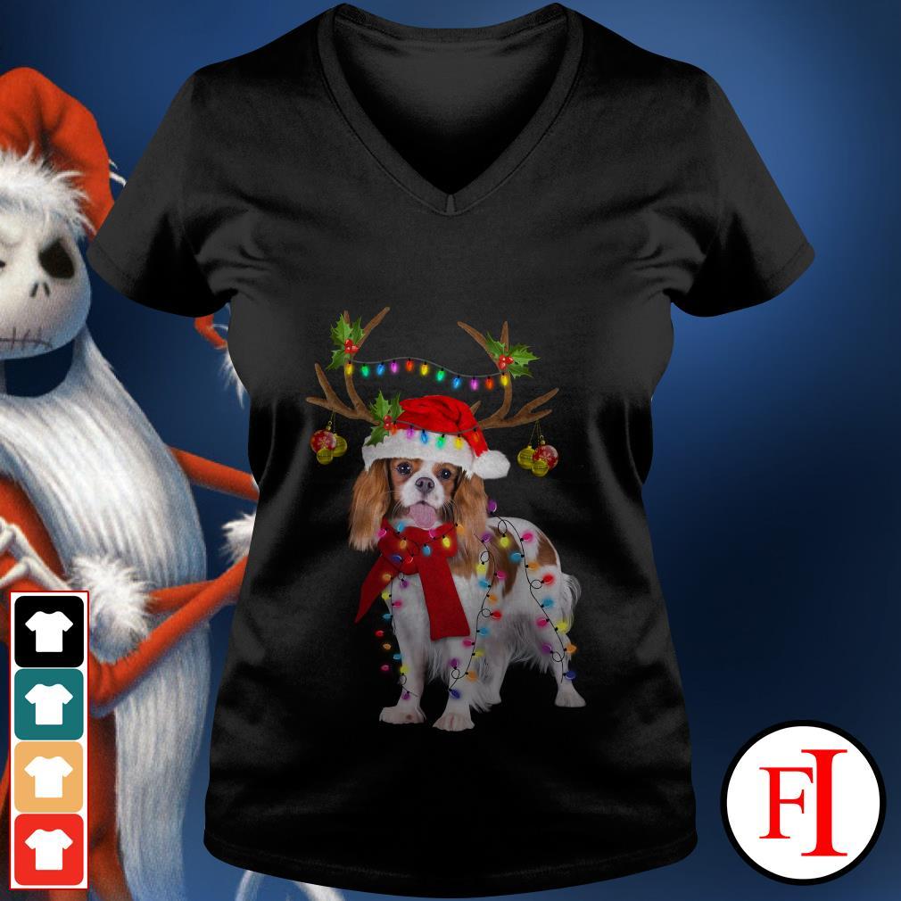 Merry Christmas Cavalier King gorgeous reindeer V-neck t-shirt