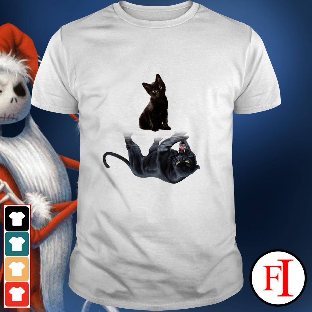 Mirror black panther Black cat water reflection shirt