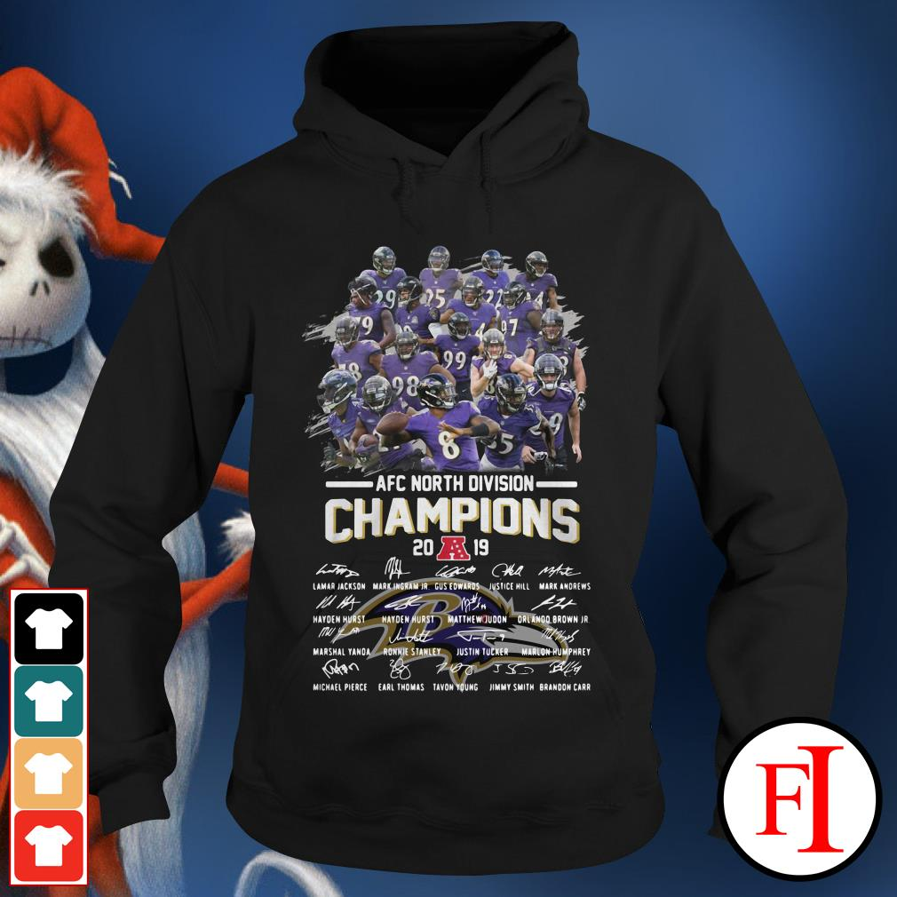 Official Baltimore Ravens AFC North Division Champions 2019 signatures Hoodie