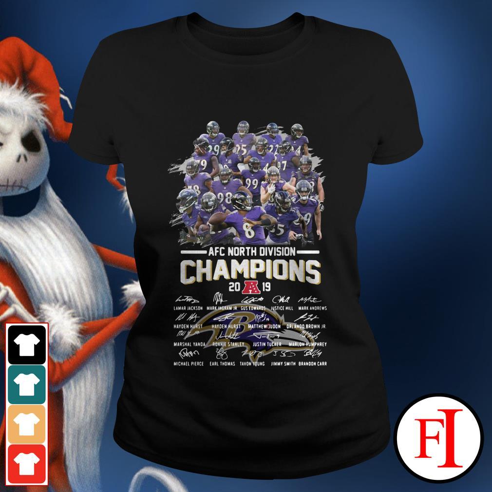 Official Baltimore Ravens AFC North Division Champions 2019 signatures Ladies tee