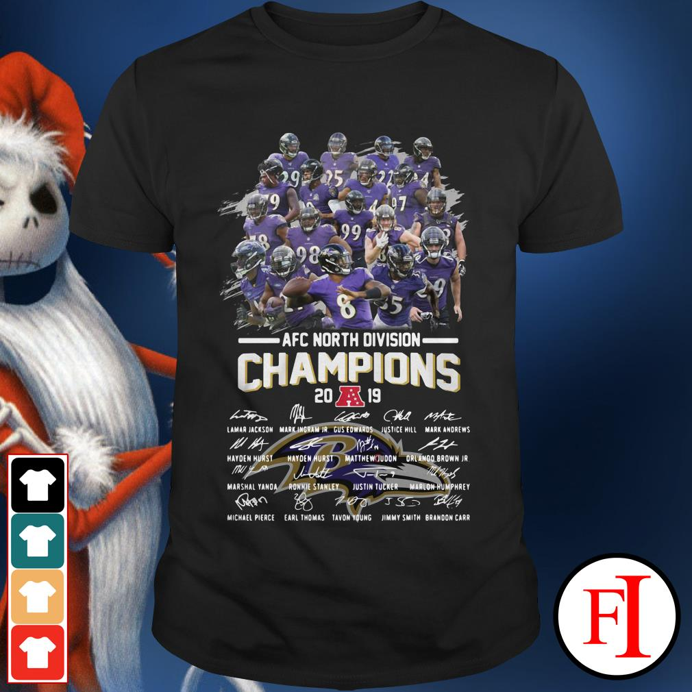 Official Baltimore Ravens AFC North Division Champions 2019 signatures shirt