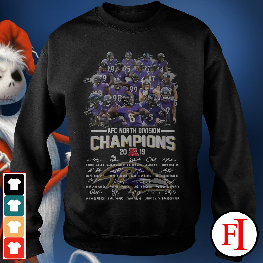 Official Baltimore Ravens AFC North Division Champions 2019 signatures Sweater