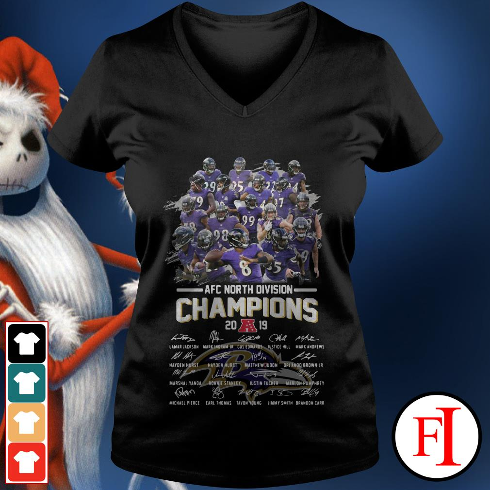 Official Baltimore Ravens AFC North Division Champions 2019 signatures V-neck t-shirt