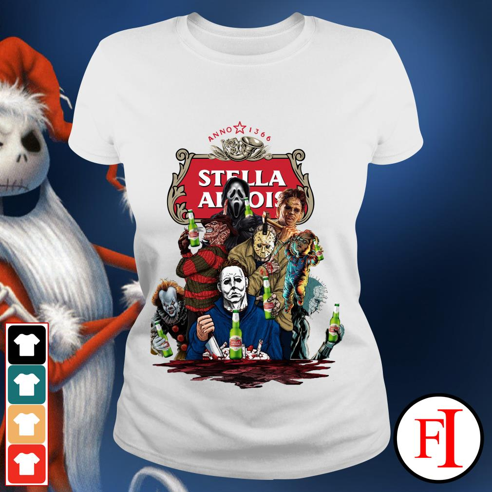 Official Halloween Horror Characters drinking Stella Artois Ladies tee