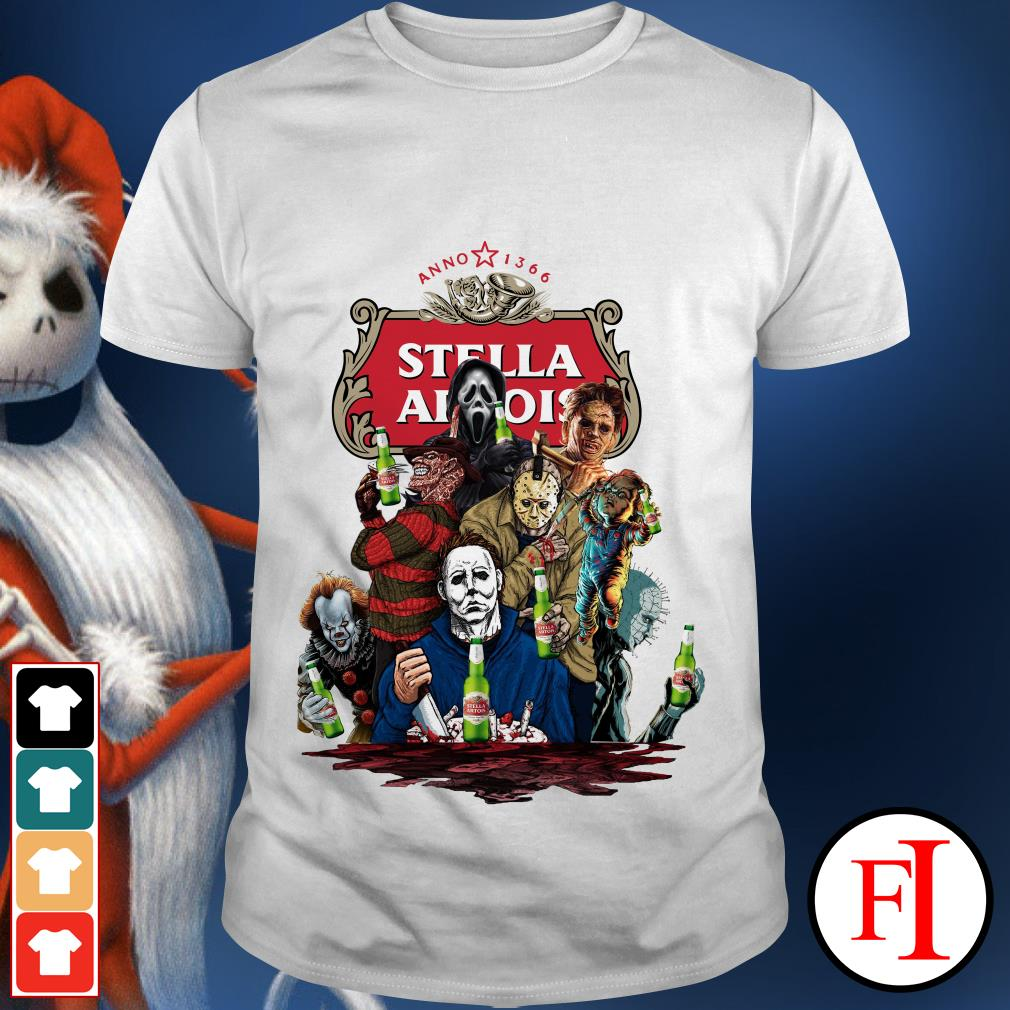 Official Halloween Horror Characters drinking Stella Artois shirt