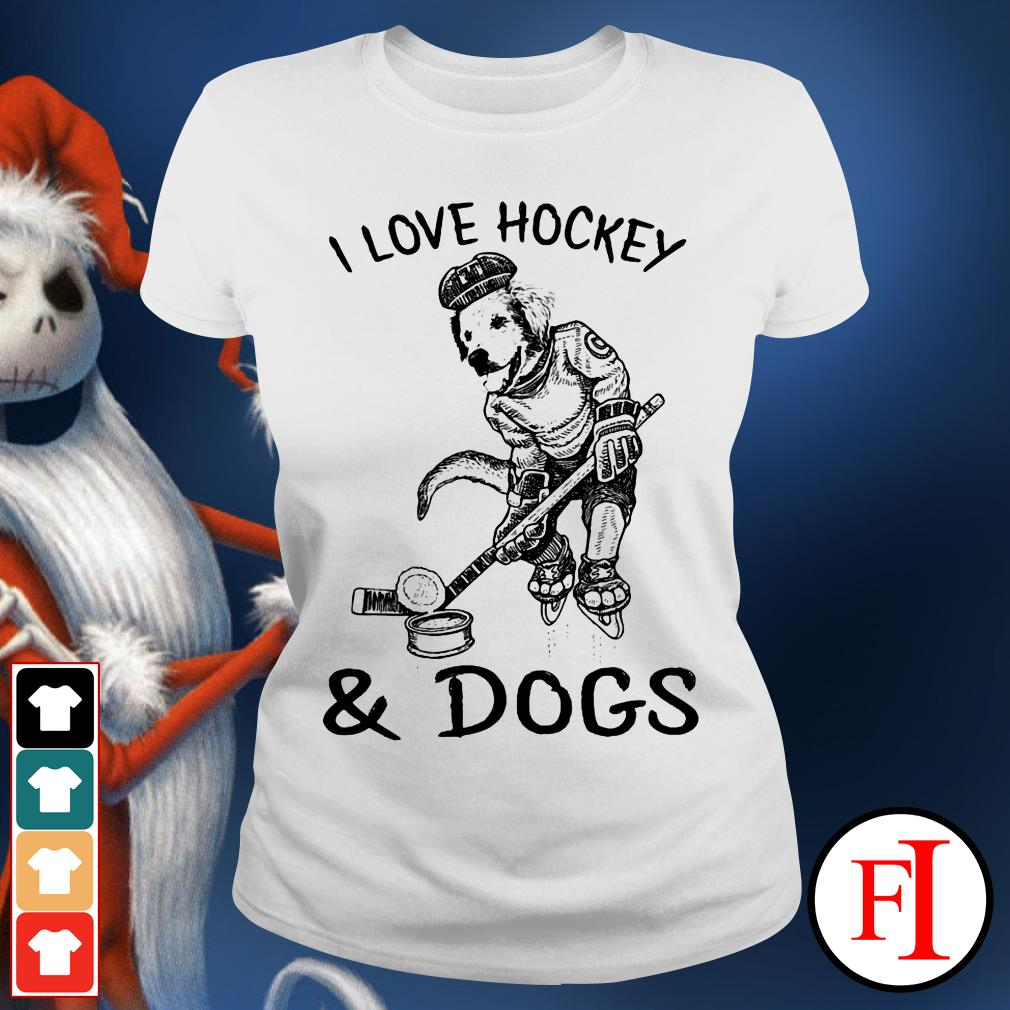 Official I love Hockey and Dog Ladies tee