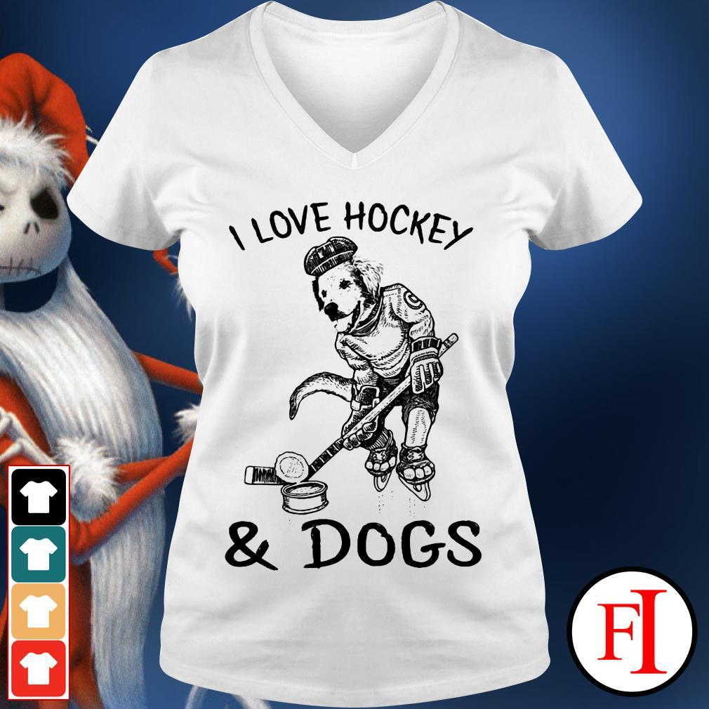 Official I love Hockey and Dog V-neck t-shirt