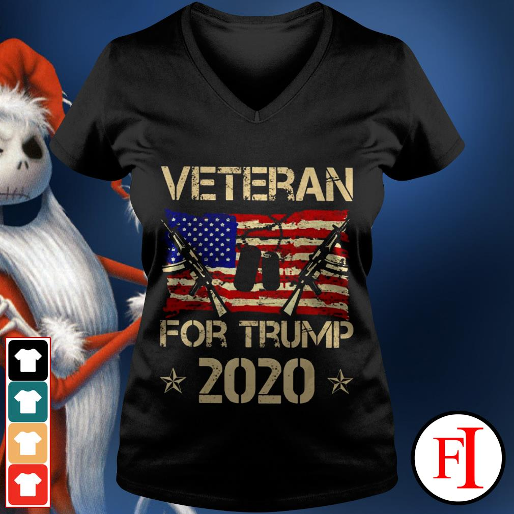 Official Veterans for Trump 2020 V-neck t-shirt