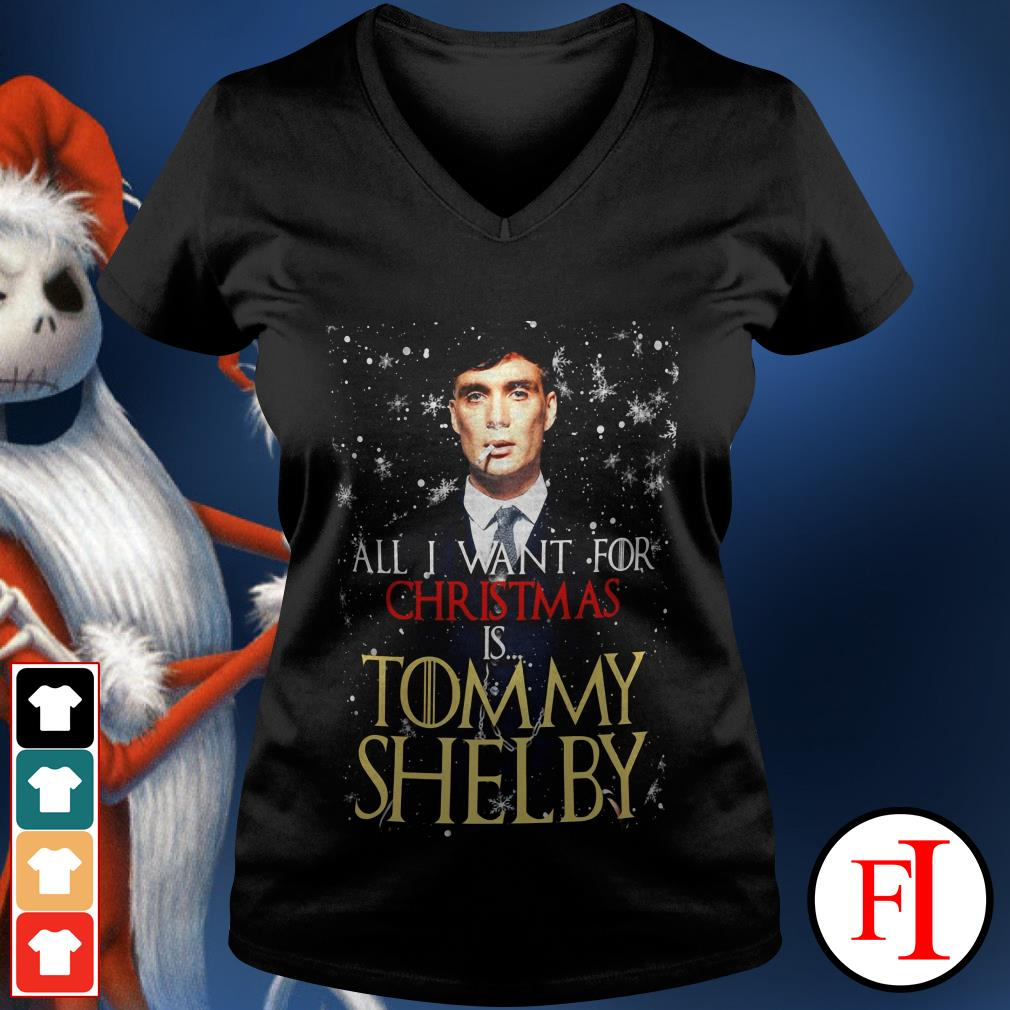 Official All I want for Christmas is Tommy Shelby V-neck t-shirt