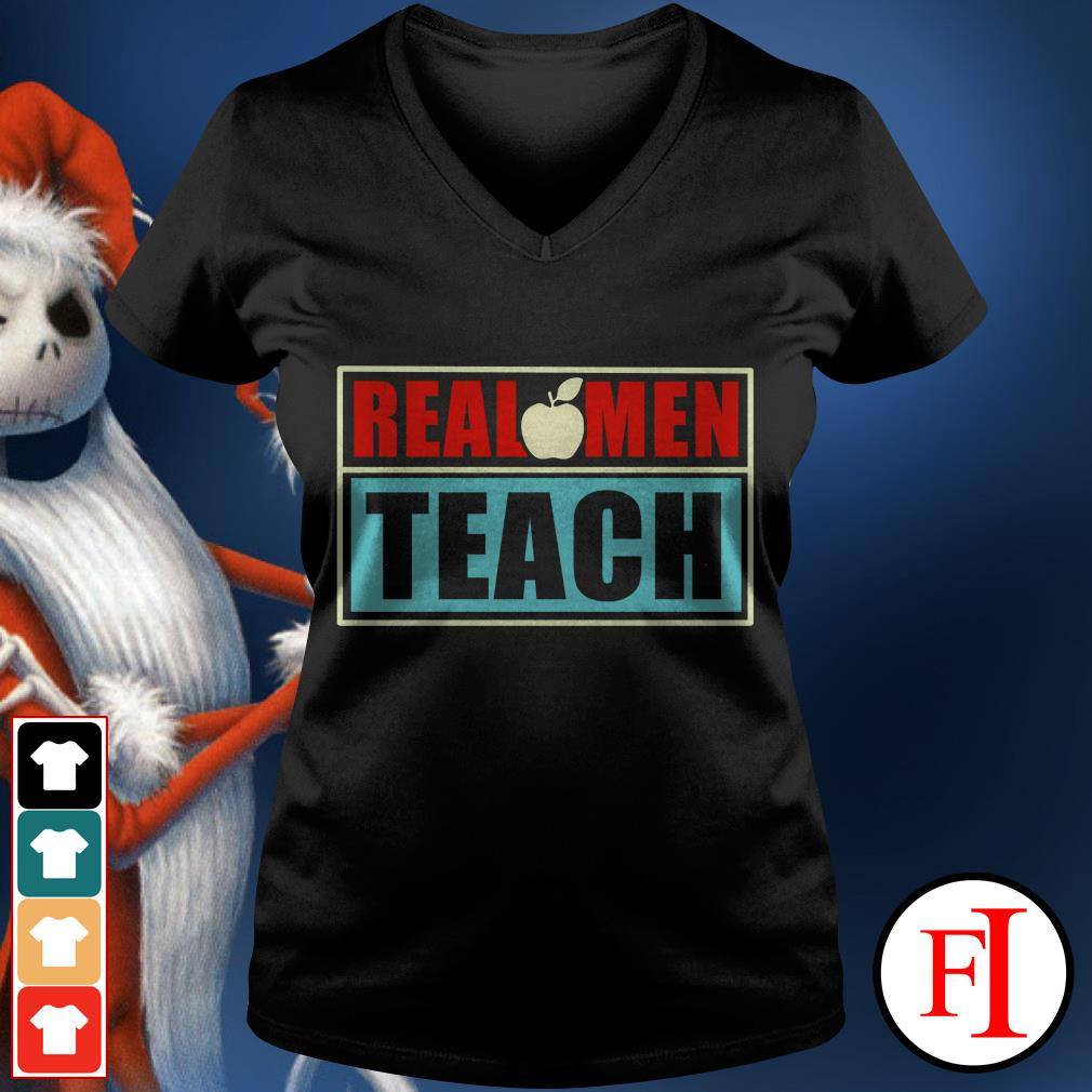Real apple men teach V-neck t-shirt