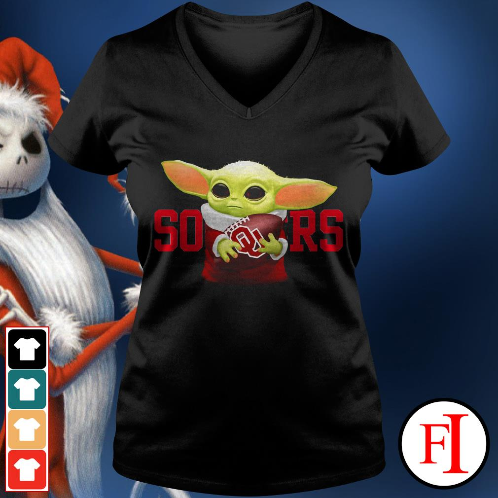 Sooners Baby Yoda hug Oklahoma V-neck t-shirt