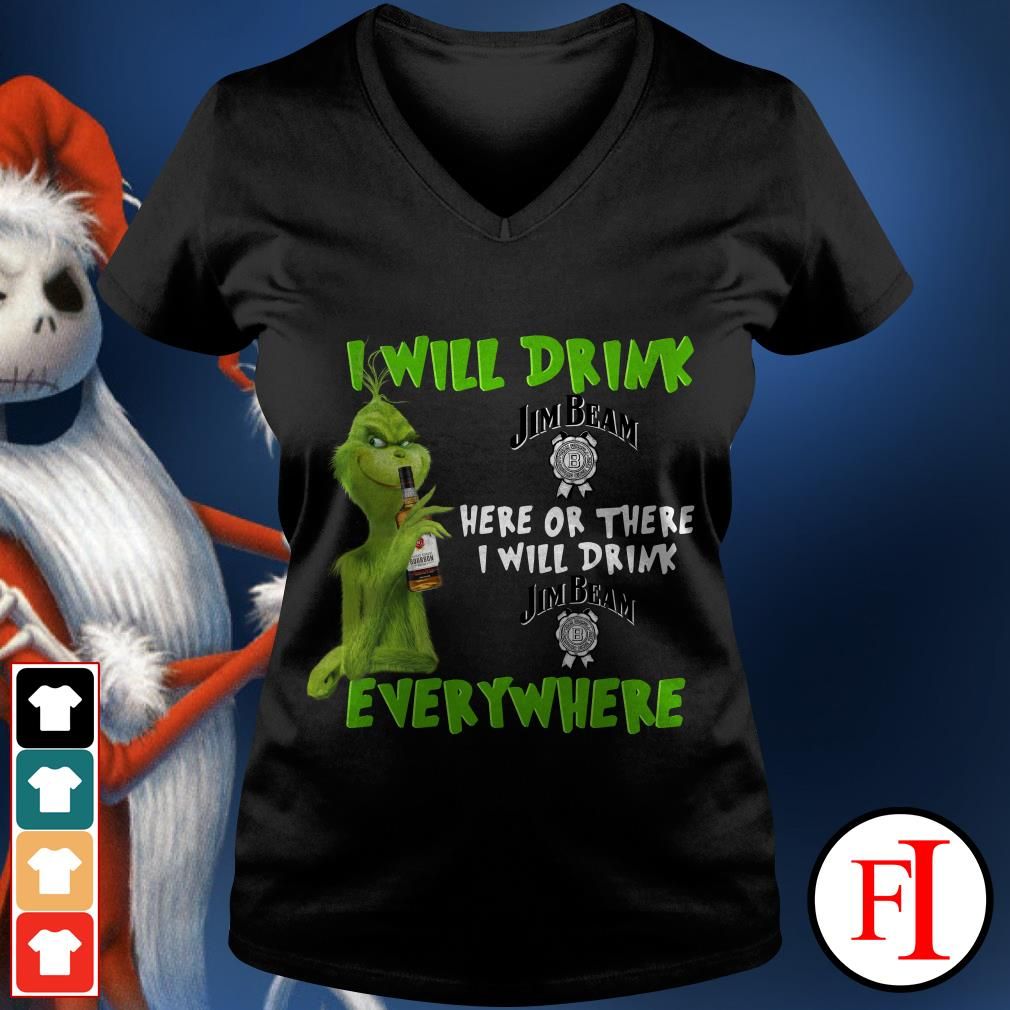 I will drink here or there or everywhere Jim Beam Grinch V-neck t-shirt
