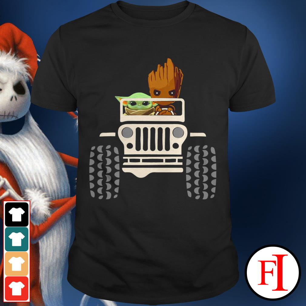 Baby Groot and Baby Yoda driving Jeep shirt