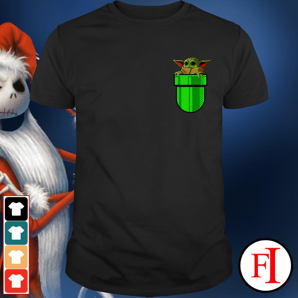 Baby Yoda in the pocket Super Mario plant shirt
