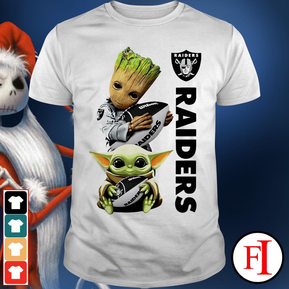 Ball Oakland Raiders Baby Yoda and Baby Groot hug shirt