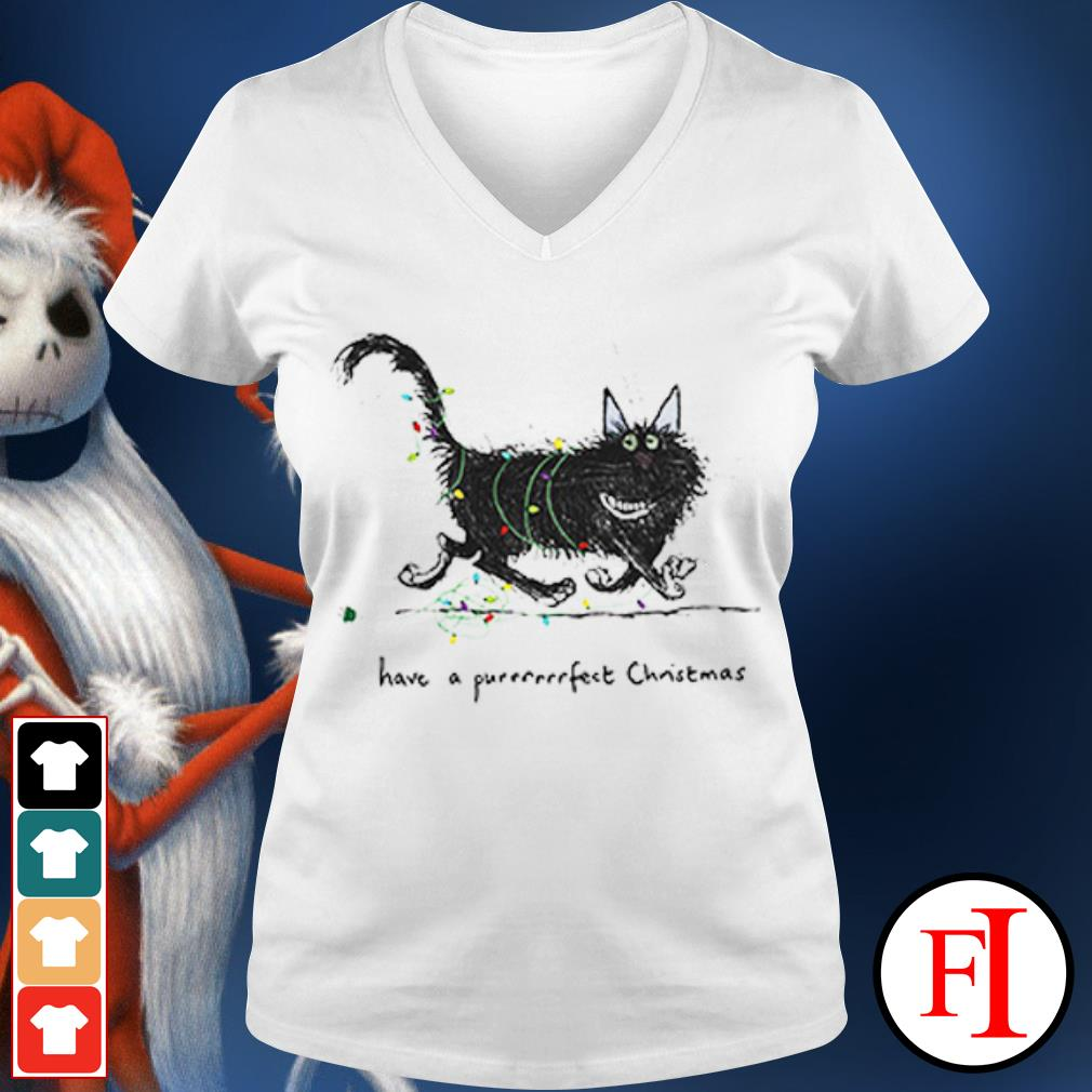 The Cat have a purrrfect Christmas V-neck t-shirt