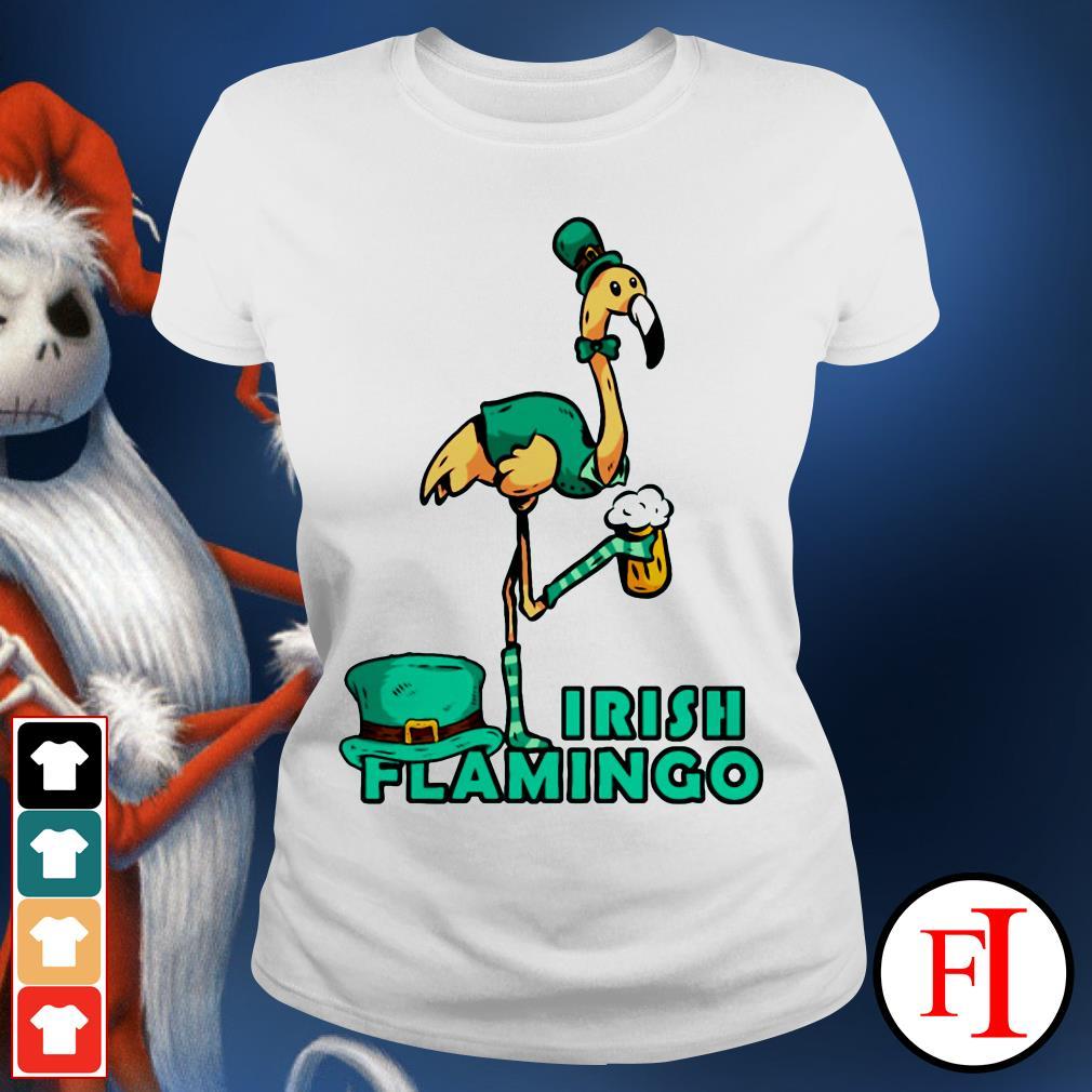 Irish flamingo beer St. Patrick's Day Ladies tee
