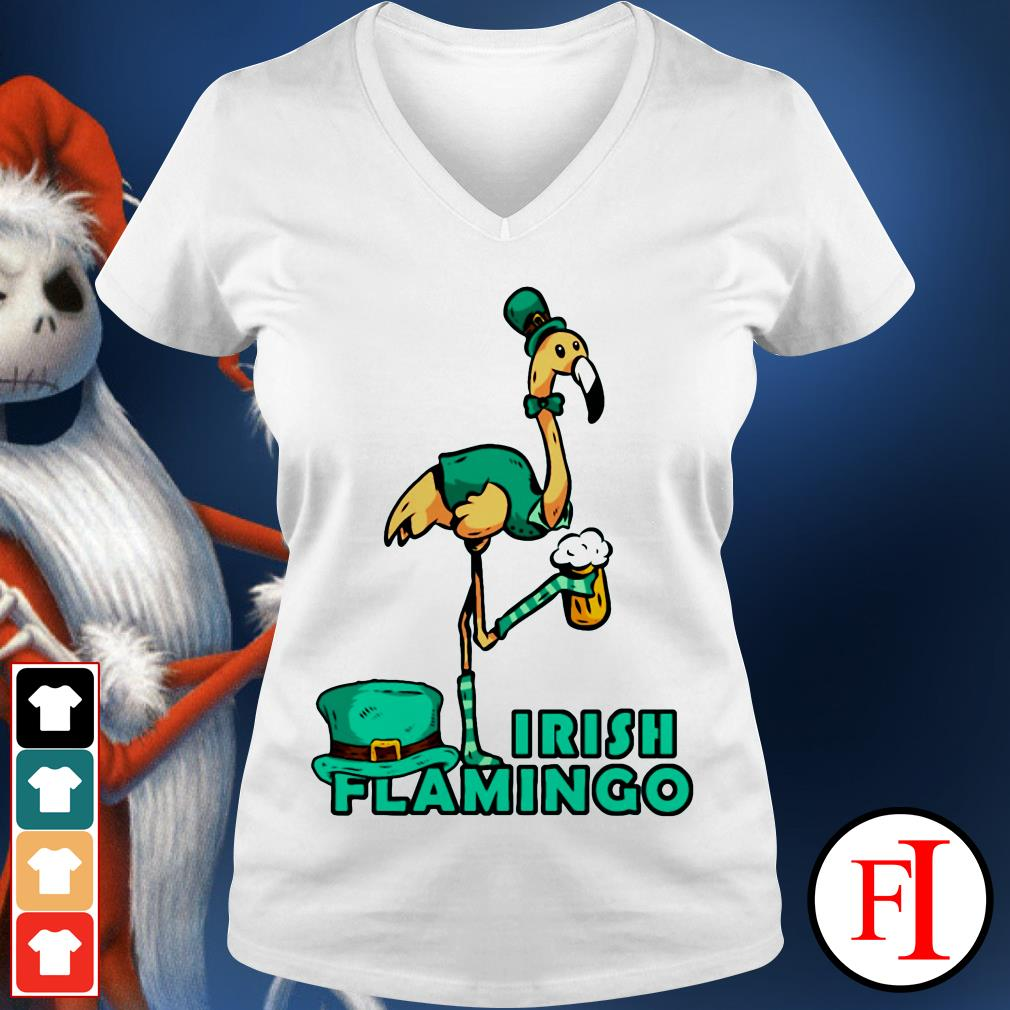 Irish flamingo beer St. Patrick's Day V-neck t-shirt