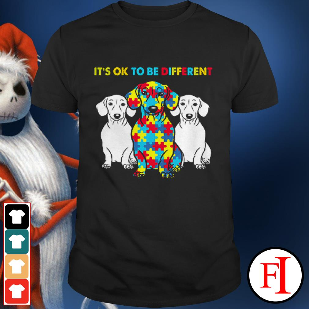 Official Autism awareness Dachshund it's ok to be different shirt