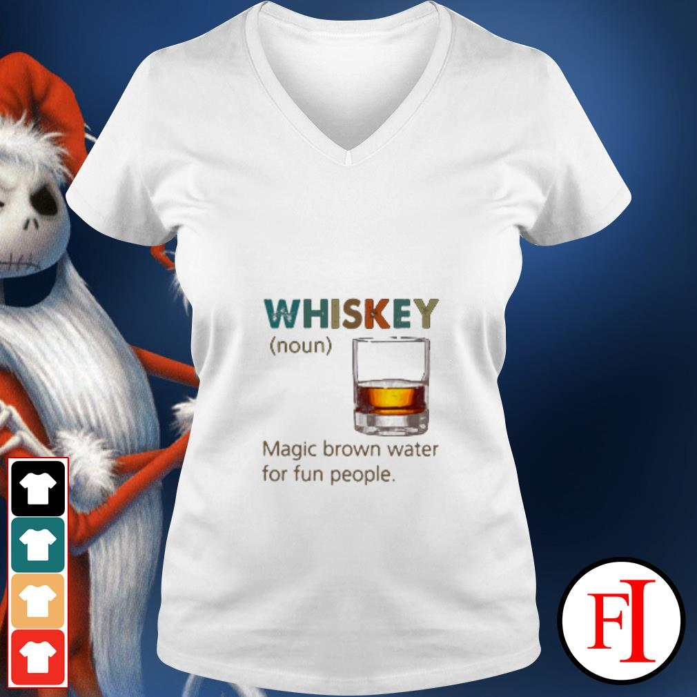 Official Whiskey Noun magic brown water for fun people sunset V-neck t-shirt