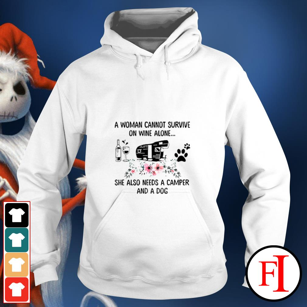 Official A woman cannot survive on wine alone she also needs a camper and a dog Hoodie
