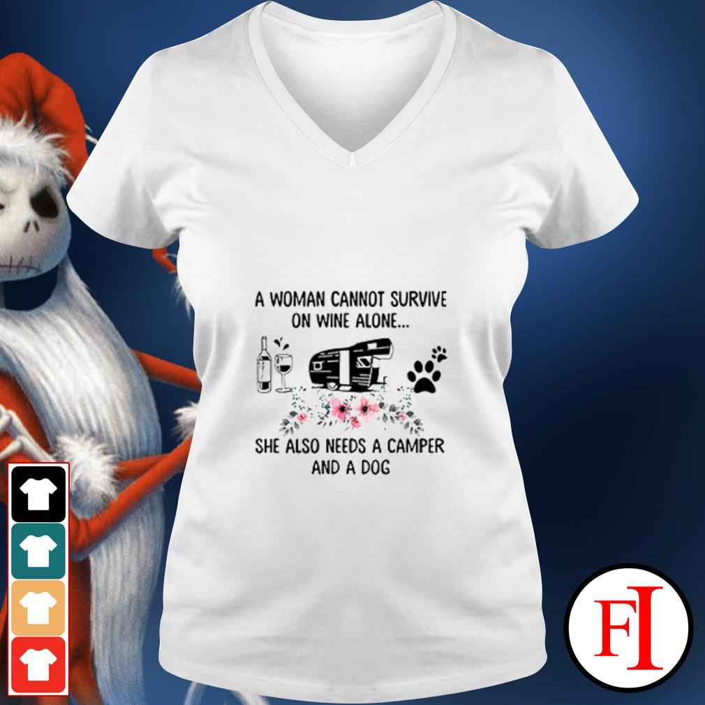 Official A woman cannot survive on wine alone she also needs a camper and a dog V-neck t-shirt