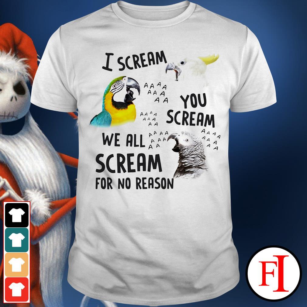 Parrot AAA I scream you scream we all scream for no reason IF shirt