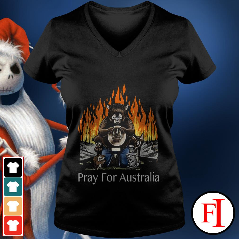 Pray for Australia Bushfires Bears Animal People V-neck t-shirt