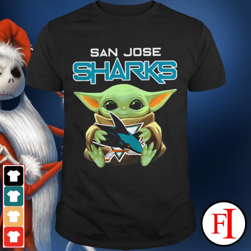 San Jose Sharks Baby Yoda hug shirt
